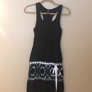 Black dress with great detail at the bottom